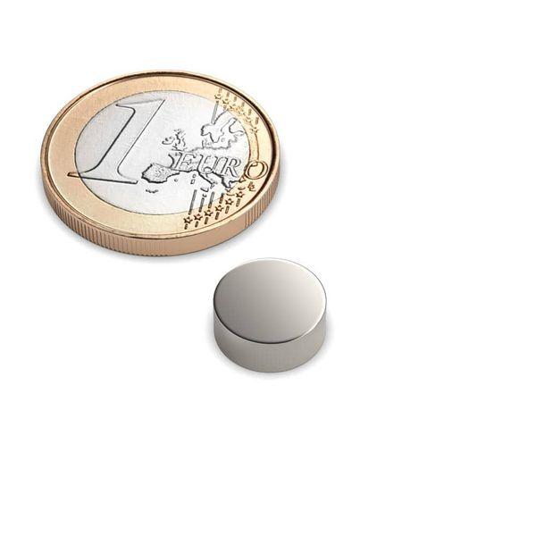 Scheibenmagnet Ø 10x4 mm vernickelt - Neodym – Bild 1