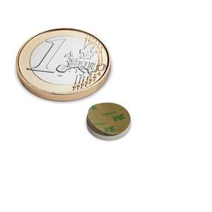 Scheibenmagnet Ø 10x1,5 mm selbstklebend vernickelt - Neodym – Bild 1