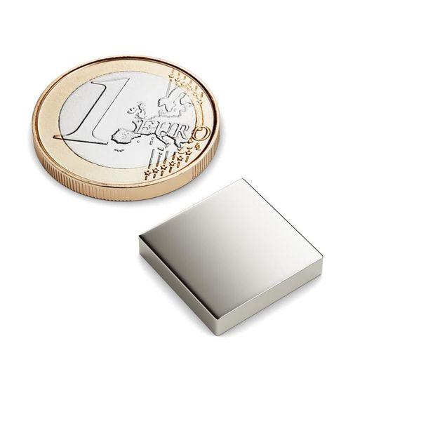 Quadermagnet 15x15x3 mm vernickelt - Neodym – Bild 1