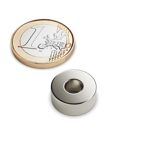 ring magnet Ø 15-6x6 mm nickel plated – neodymium – photo 1