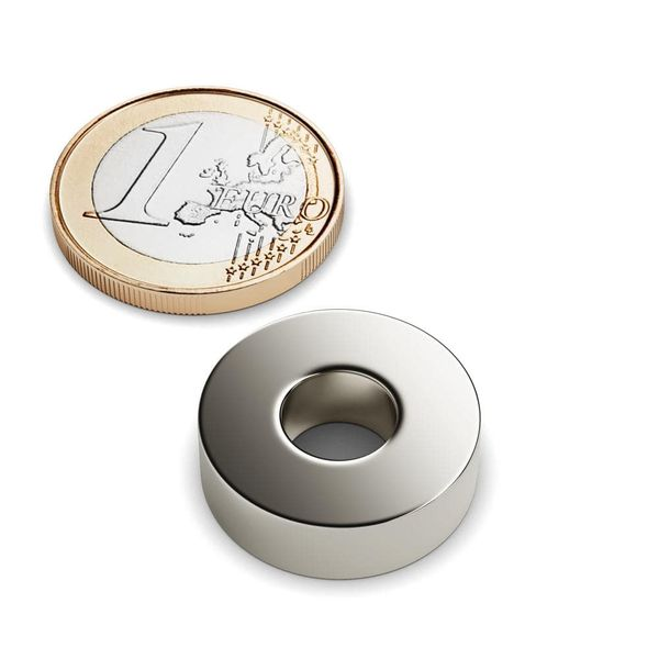 ring magnet Ø 20-8x6 mm nickel plated – neodymium – photo 1