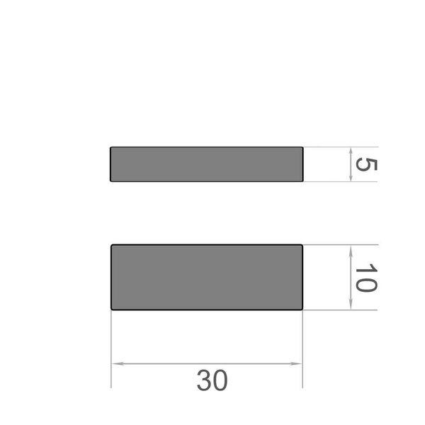 magnete cuboide 30x10x5 mm nichel - neodimio – immagine 3