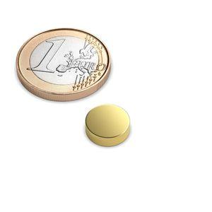 Scheibenmagnet Ø 10x3 mm vergoldet - Neodym – Bild 1