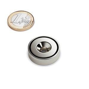 Senkungsmagnet Ø 25 mm als Topfmagnet vernickelt – Neodym – Bild 1