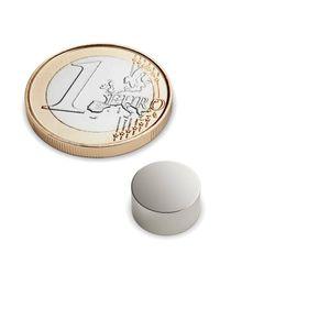 Scheibenmagnet Ø 10x5 mm vernickelt - Neodym – Bild 1