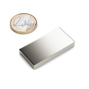 Quadermagnet 40x20x5 mm vernickelt - Neodym – Bild 1