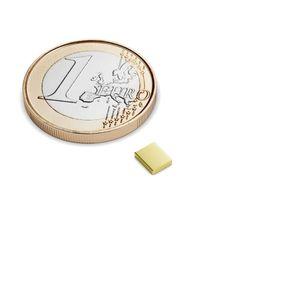 Quadermagnet 5x4x1 mm vergoldet - Neodym – Bild 1