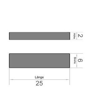 Quadermagnet 25x6x2 mm vernickelt - Neodym – Bild 3