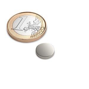 Scheibenmagnet Ø 10x2 mm vernickelt - Neodym – Bild 1