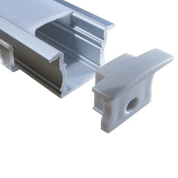 LED Alu Profile Einbauprofil EGR / Flügel-Profil eloxiert für 12mm LED-Streifen mit einklickbarer Abdeckung - Main – Bild 1