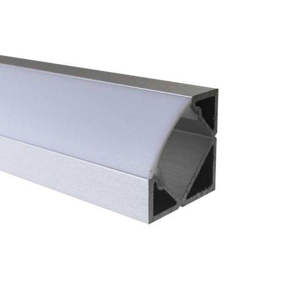 LED Alu Profile Eckprofil / Eck-Profil E45 eloxiert für 12mm LED-Streifen mit einklickbarer Abdeckung - Mosel – Bild 3