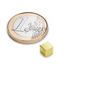 cube magnet 5x5x5 mm gold plated – neodymium 001