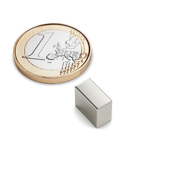Quadermagnet 10x5x8 mm vernickelt - Neodym – Bild 1
