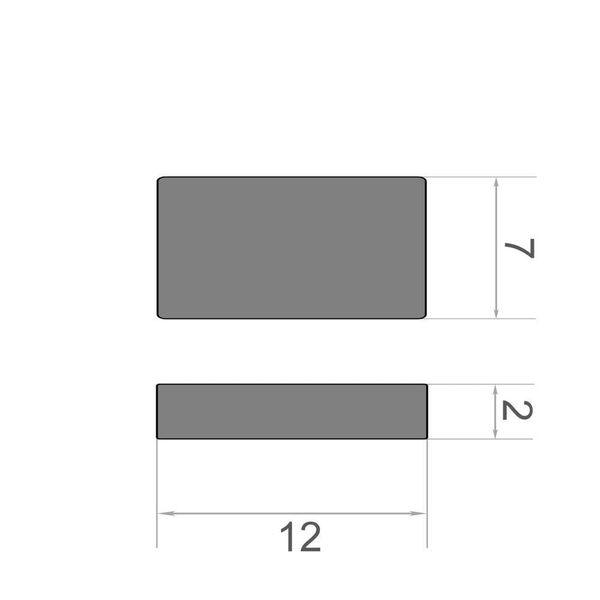 Quadermagnet 12x7x2 mm vernickelt - Neodym – Bild 3