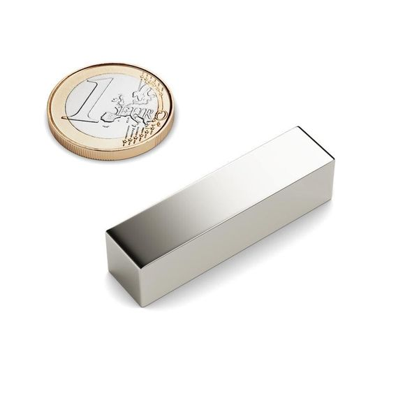 cuboid magnet 40x10x10 mm nickel plated - neodymium – photo 1
