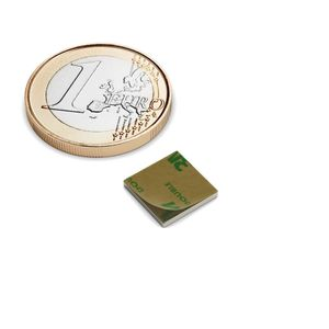 Quadermagnet 10x10x1 mm selbstklebend vernickelt - Neodym – Bild 1