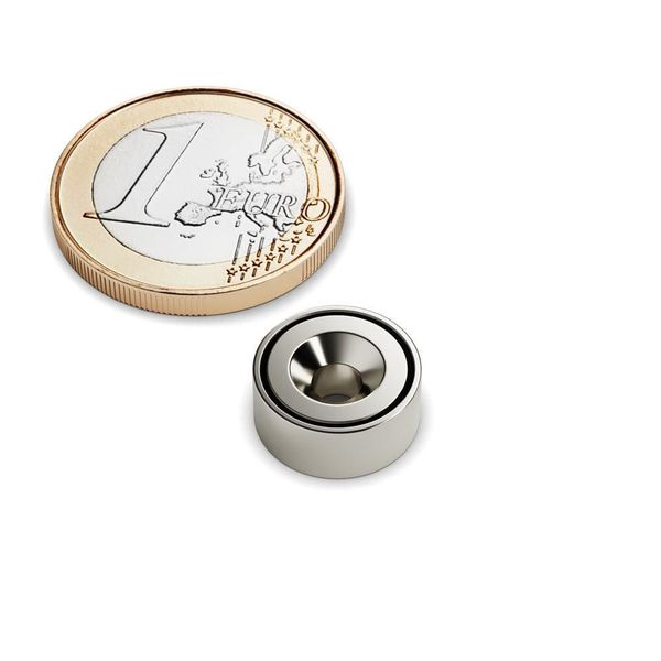 countersunk magnet Ø 12 mm as pot magnet nickel plated – neodymium – photo 1