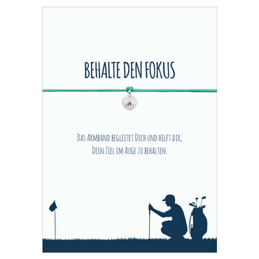 Armband Behalte den Fokus türkis Golfball versilbertes Metall