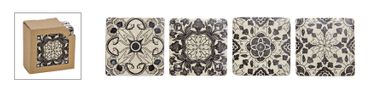 Untersetzer-Set Marokko 4-teilig grau/weiß
