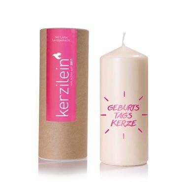 Kerzilein Flamme Geburtstagskerze pink Höhe 19 cm