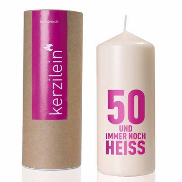 Kerzilein Flamme 50 und immer noch heiss pink Höhe 19 cm