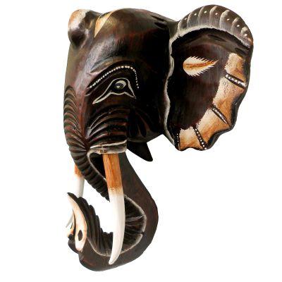 Wandmaske Elefant, 40cm, handgeschnitzt und handbemalt, Dekomaske, Holzmaske – Bild 1