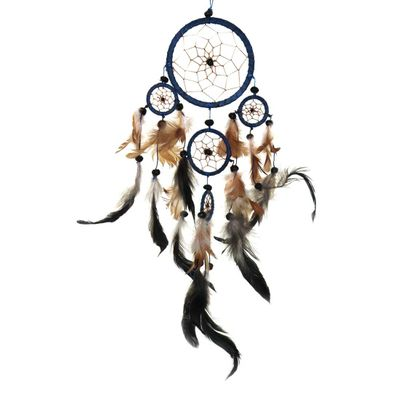 "Traumfänger - Dreamcatcher ""Happy Dreams""  9 cm & 4 x klein blau"