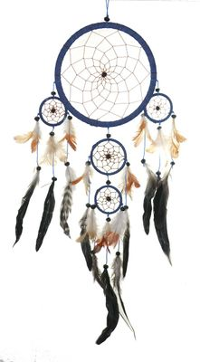 "Traumfänger - Dreamcatcher ""Happy Dreams""  16 cm & 4 x klein blau"