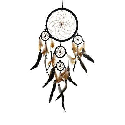 "Traumfänger - Dreamcatcher ""Happy Dreams""  ca. 27 x 50 cm schwarz Indianer"
