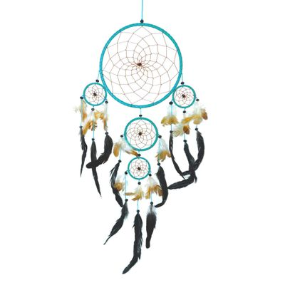 "Traumfänger - Dreamcatcher ""Happy Dreams""  ca. 30 x 65 cm türkis Indianer"