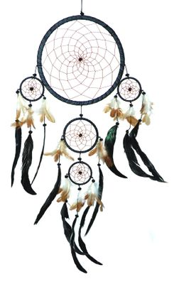 "Traumfänger - Dreamcatcher ""Happy Dreams""  22 cm & 4 x klein schwarz Indianer"