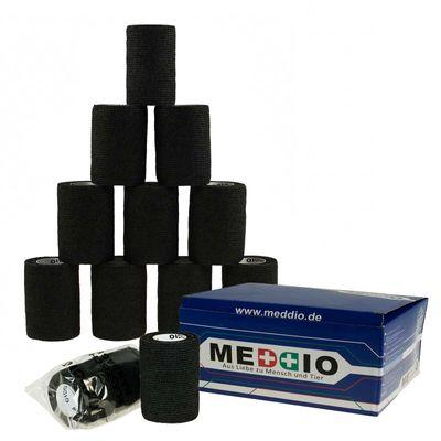 12 Haftbandagen / Selbsthaftende Bandagen 7,5 cm x 4,5 m schwarz