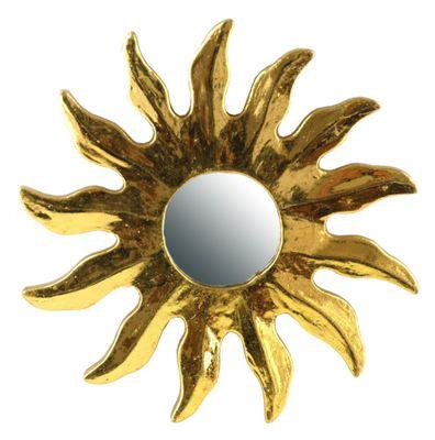 1 Deko-Spiegel SUN, Holz, Wandschmuck, gold, ca. 20 cm, in 4 Größen verfügbar