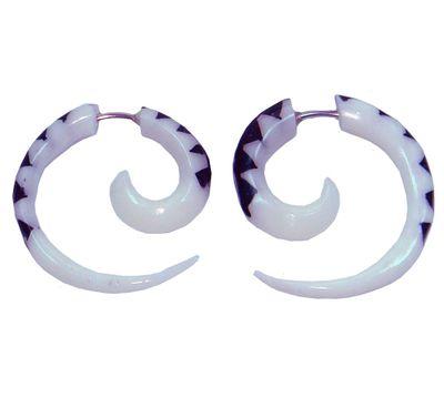 1 Paar Fake Piercings Sichel aus Bone, Ohrring, Ohrschmuck weiß-schwarz