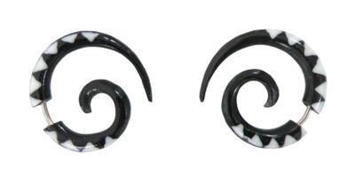 1 Paar Fake Piercings Sichel aus Bone, Ohrring, Ohrschmuck schwarz-weiß
