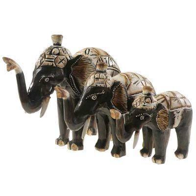 1 Elefant SABI aus Albesia-Holz, Deko-Elefant, ca. 25 cm Holzfigur