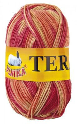 Strickgarn TERA MELIR by VLNIKA 100g No. 98 gelb - orange - rot