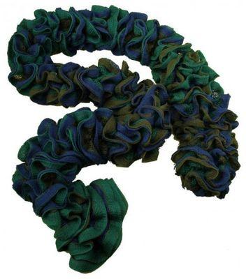 3D Rüschen-Strickgarn TRIO by VLNIKA #706 blau-grün-oliv – Bild 3