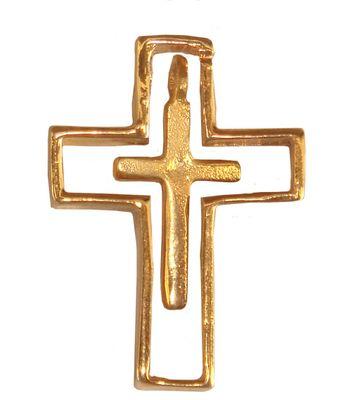 Gothic-Anhänger Kreuz im Kreuz, mystischer Schutz-Anhänger
