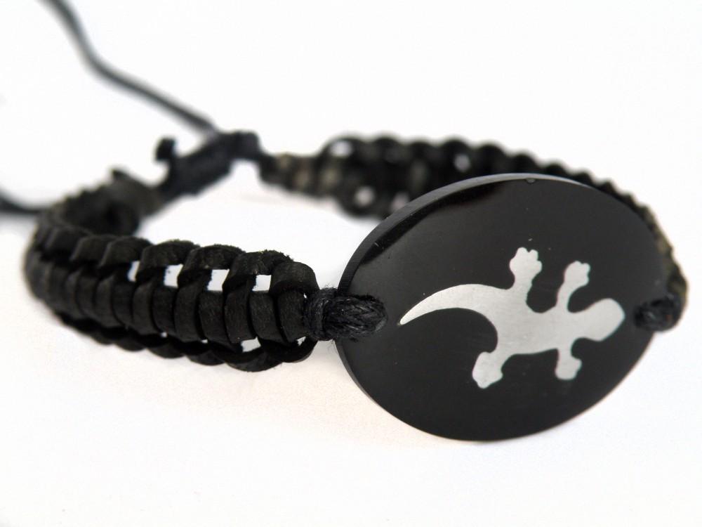 30 Leder-Armband - schön geflochten mit Edelstahlmotiv auf Resin  – Bild 2