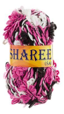 3D Blüten-Effekt Strickgarn / Strickwolle SHAREE by VLNIKA 100g #54 weiß-pink-schwarz
