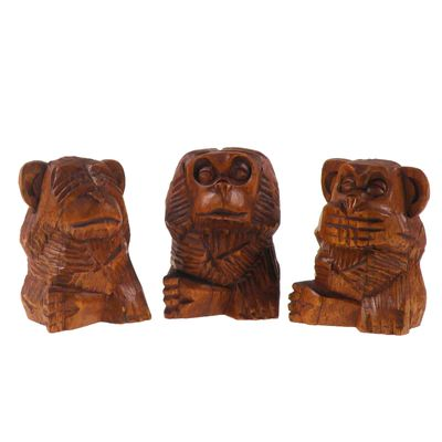 3 Weise Affen, nichts hören, sehen, sagen, Soar-Holz, ca. 8 cm, handgeschnitzt