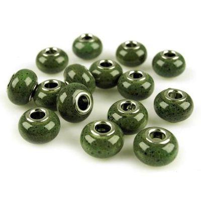 European Bead / Rondell Keramik 10 x 15 mm grün (1 Stück)