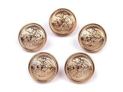 5 Kunststoff - Knöpfe, gold mit Embleme, ca.  16 mm