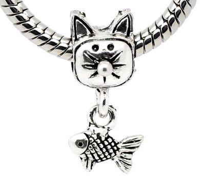 1 Bead Anhänger Katze mit Fisch 23 x 12 mm, antiksilber  – Bild 1