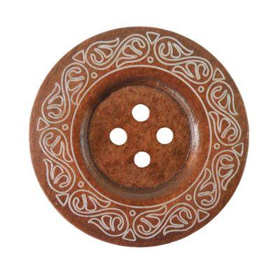 1 XL Holzknopf Kaffee 6 cm Motiv Tribal – Bild 1