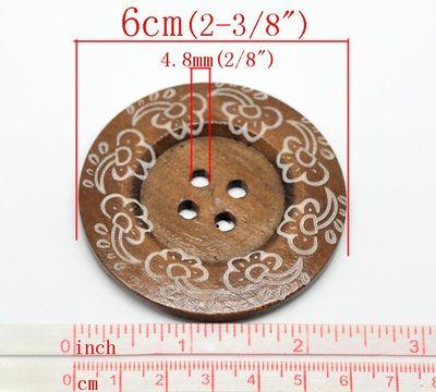1 XL Holzknopf Kaffee 6 cm Motiv Blüten – Bild 2