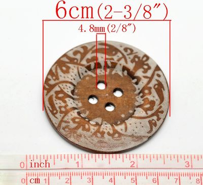 1 XL Holzknopf Kaffee 6 cm Motiv Fantasie  – Bild 2