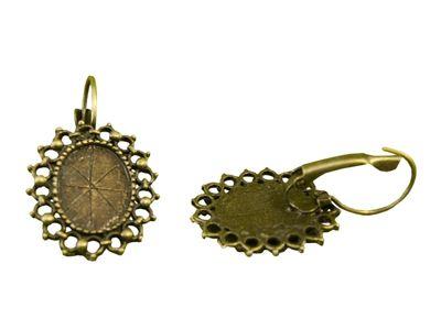 1 Paar Filigrane Ohrhaken für Cabochon (14 x 10 mm), 35 x 20 mm
