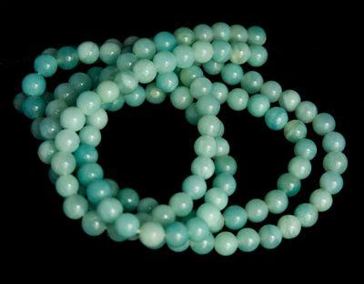 67 Hochwertige türkisblaue Amazonit Perlen auf Strang, 6 mm